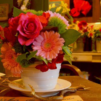 Bouquet en rose et vert